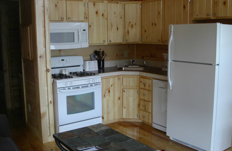 Cabin kitchen at Edinboro Lake Resort.