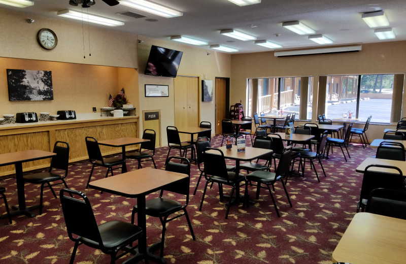 Our breakfast room can hold a large number so theres less wait and more exploring and adventure. Let us take the stress out of your morning with our complimentary continental breakfast to help you get started off right. Coffee is available all day and night.