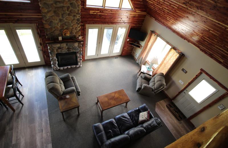 Cottage living room at Riverwood Resort.