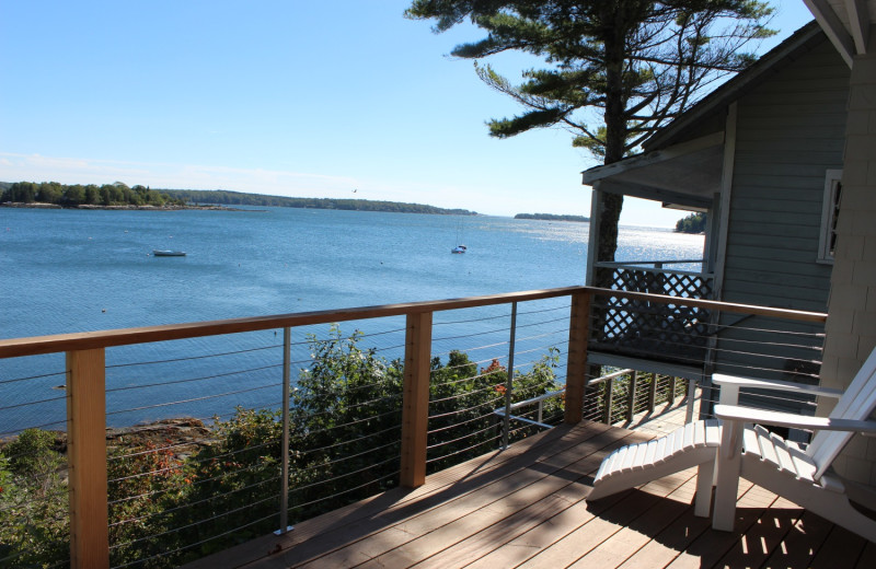 Cabin balcony at Linekin Bay Resort.