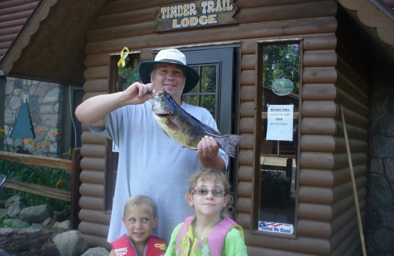 Family fishing at Timber Trail Lodge & Resort.