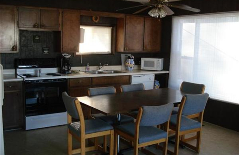 Cabin kitchen at Robin's Resort.