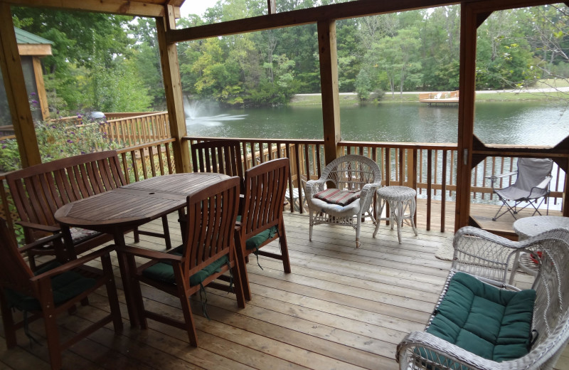 Cabin porch at Lake Cabins Resort.