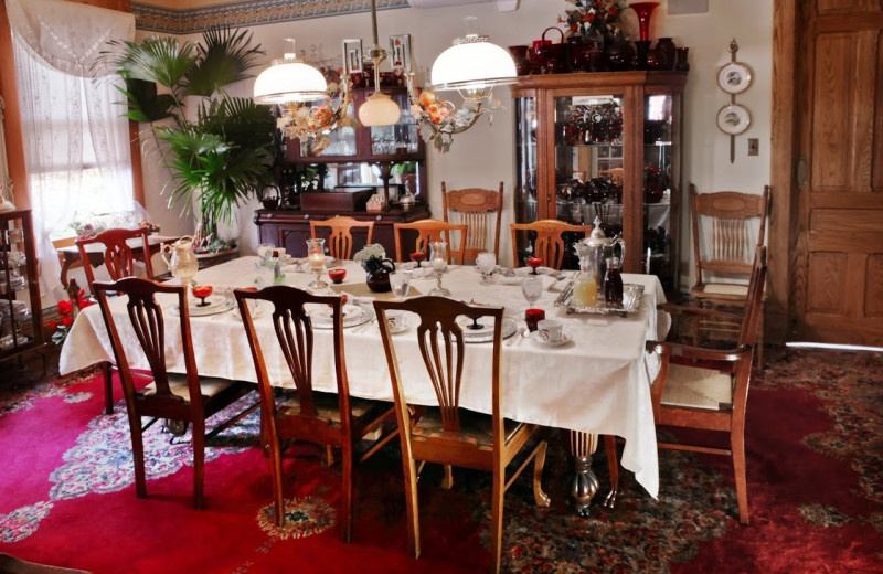 Dining room at Queen-A Victorian B & B.