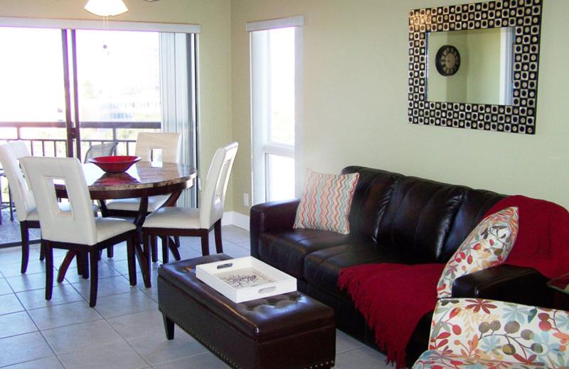 Rental living room at Gulf Strand Resort.