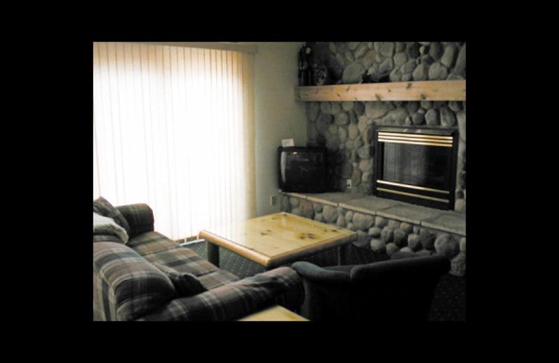Cabin living room at Birch Bay Resort.