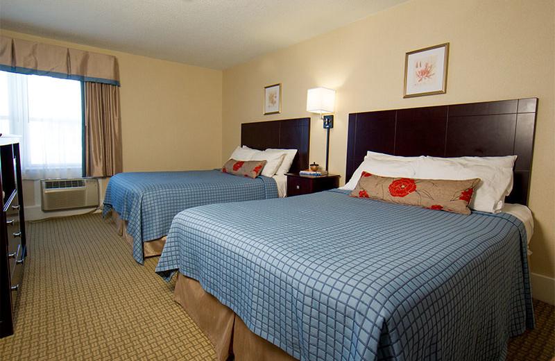 Double queen room at Harrison Hall Hotel Ocean City.