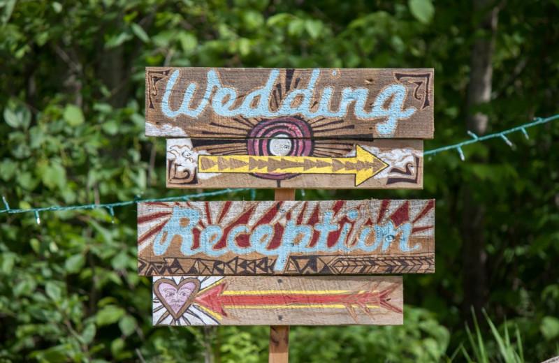 Wedding sign at Buckhorn on Caribou.