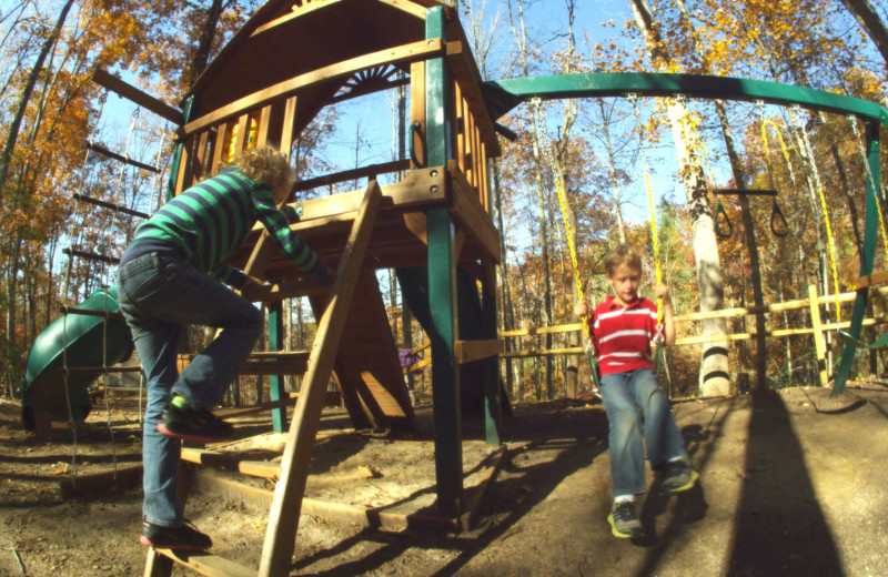 Rental kid's playground at Watershed Cabins.