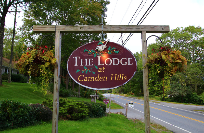Welcome sign at The Lodge at Camden Hills