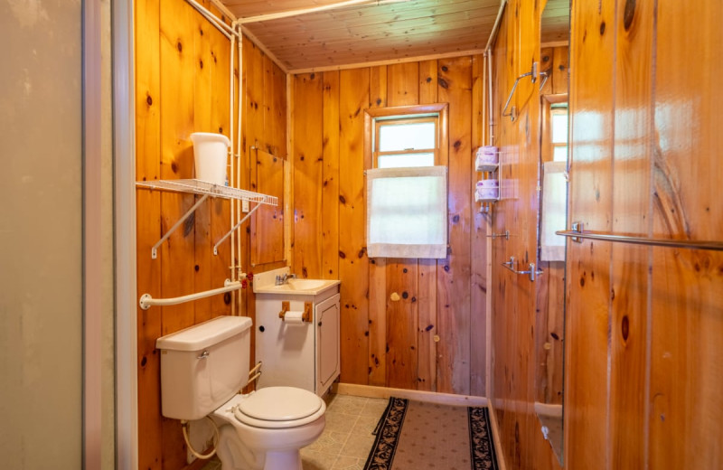 Cabin bathroom at Rising Eagle Resort.