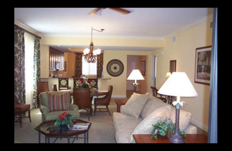 Vacation rental living room at American Patriot Getaways.