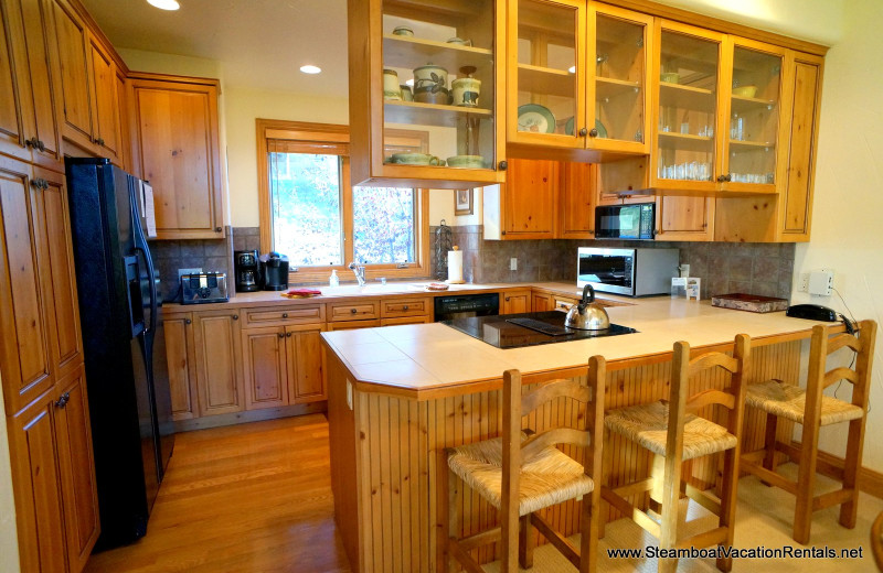 Rental kitchen at Steamboat Vacation Rentals.