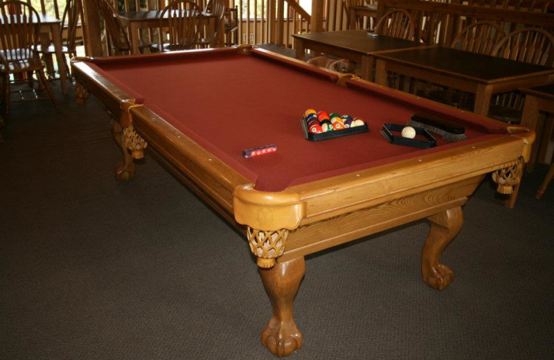 Billiards table at Bear Creek Lodge.