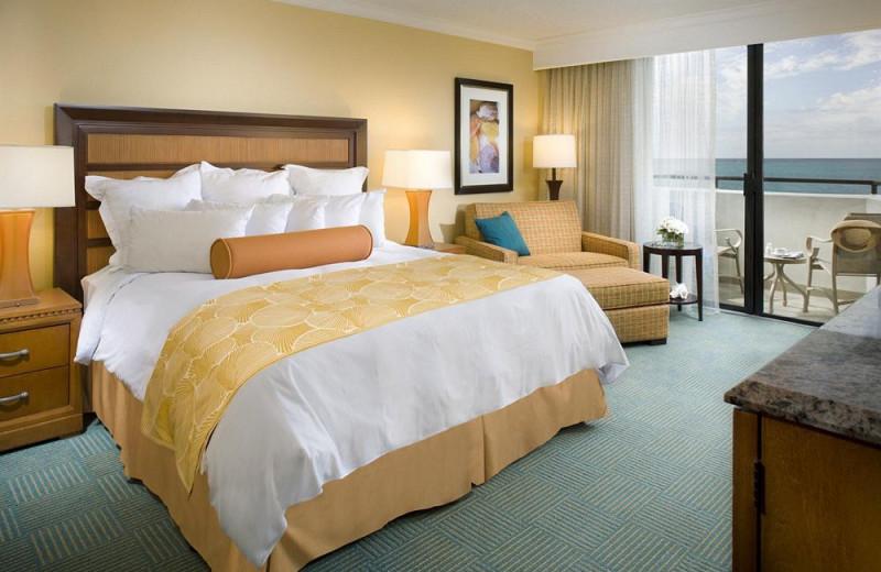 Guest room at Harbor Beach Marriott Resort & Spa.