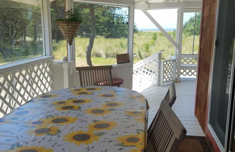 Rental porch at Oceanfront Getaways.