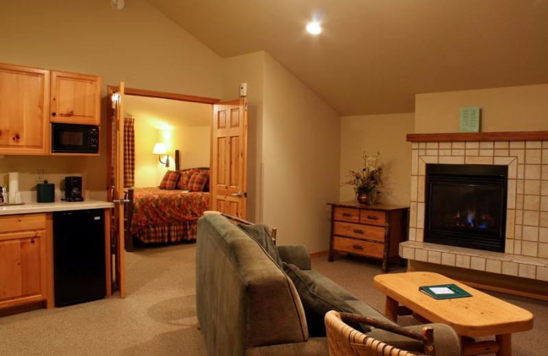 Guest room at Bigfork Mountain Lake Lodge.