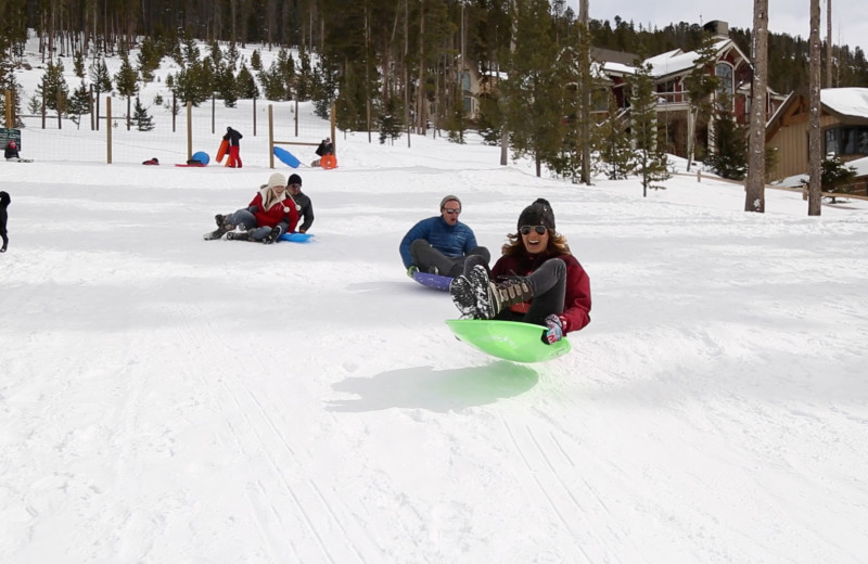 Sledding at Grand Timber Lodge.