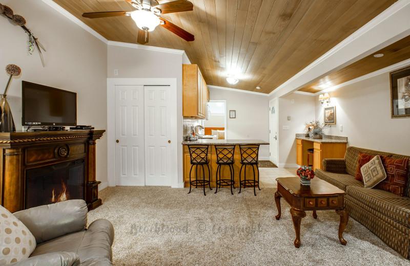 Guest room at Beachwood Resort Condos.