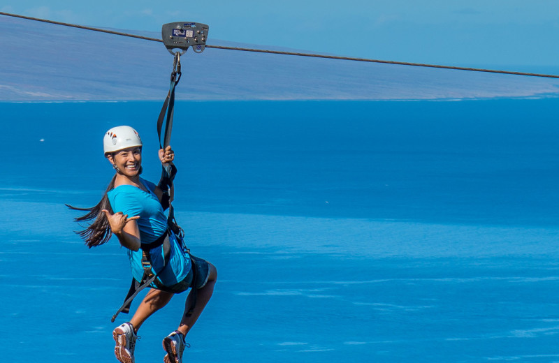 Zip line at Lumeria Maui.