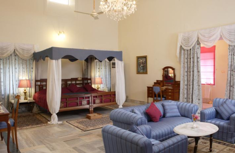Guest room at Sariska Palace Hotel.