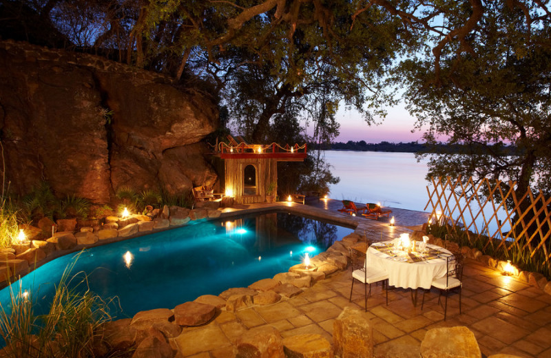 Outdoor pool at Tongabezi Lodge.