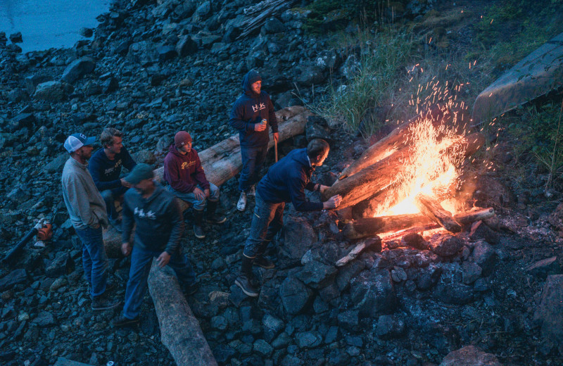 Group bonfire at Elfin Cove Resort.