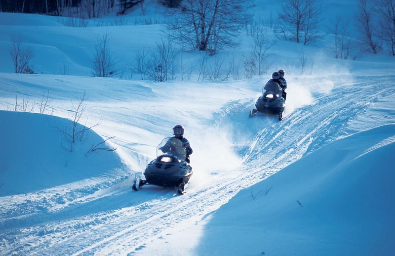Snowmobiling at Fairmont Le Chateau Montebello.