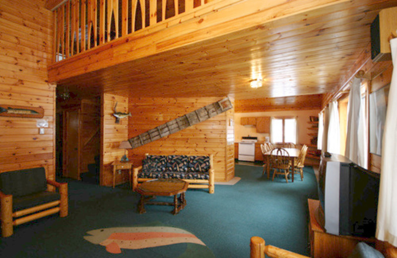 Cabin interior at Gunflint Lodge.