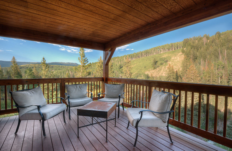 Cabin deck at Wild Skies Cabin Rentals.
