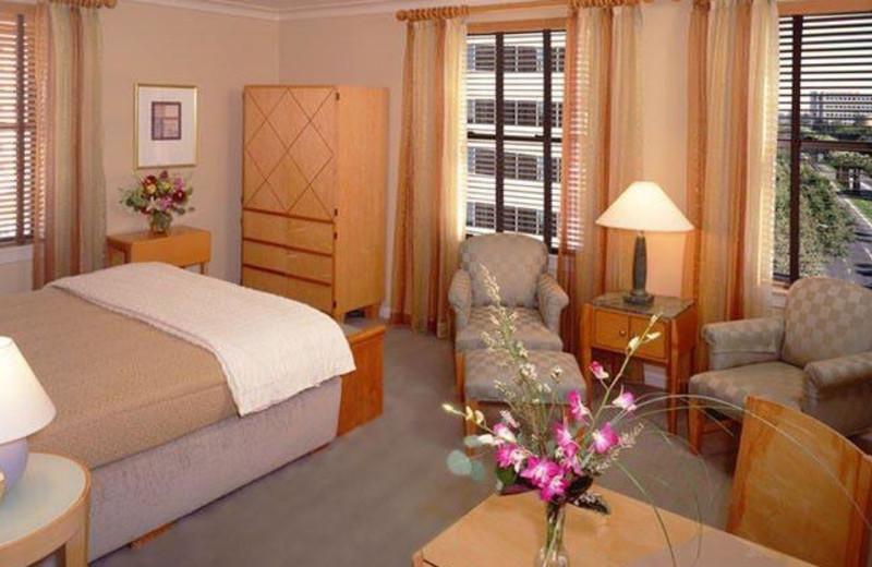 Guest room at Hotel De Anza.