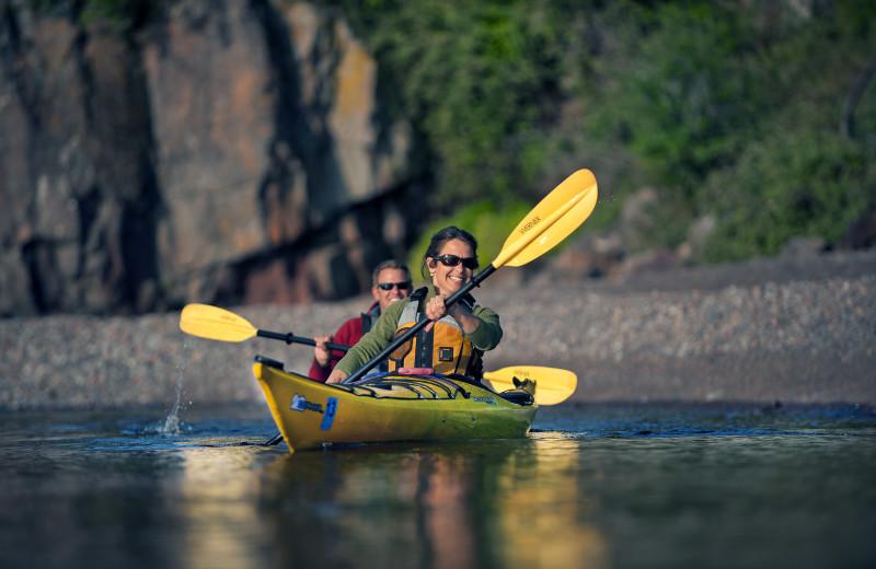 Kayaking at Lutsen Resort on Lake Superior.