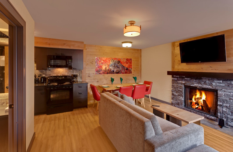 Guest suite at Banff Rocky Mountain Resort.