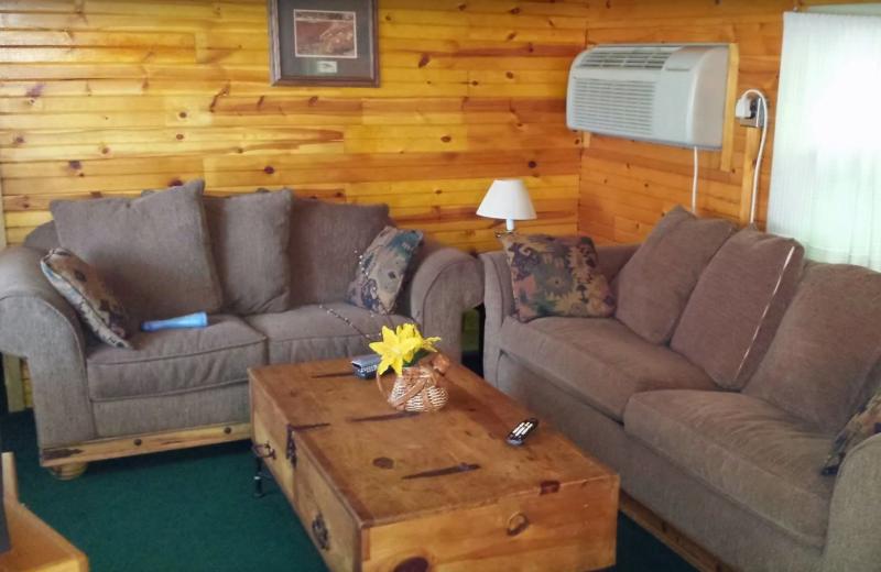 Cabin living room at Evans Lake Resort.