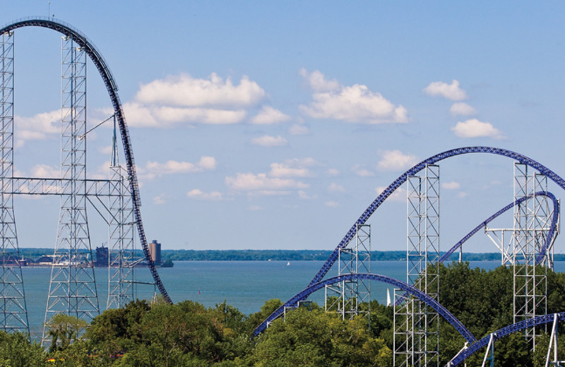 Cedar Point roller coaster near Hotel Breakers.