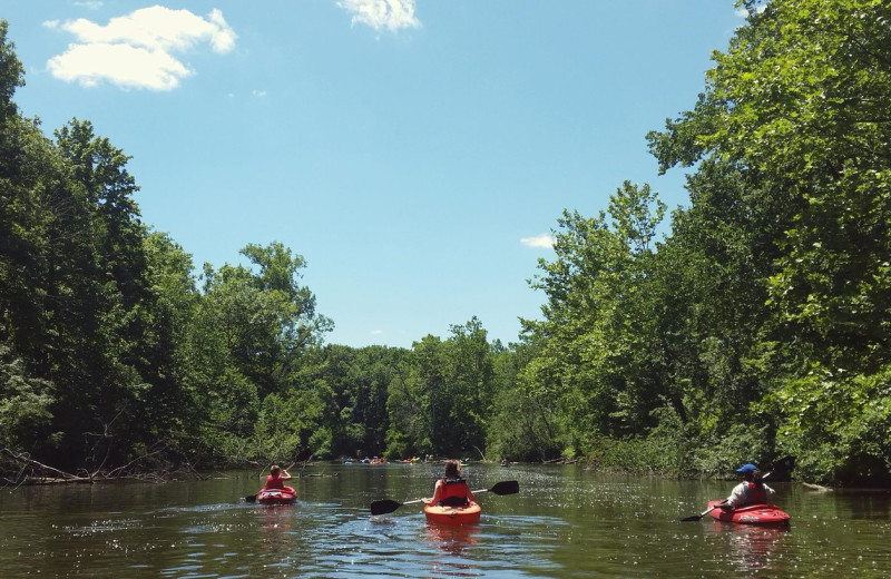River kayaking at Acorn Lodge.