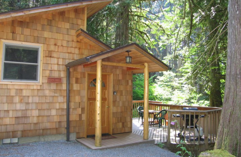 Cabin exterior at Deep Forest Cabins.