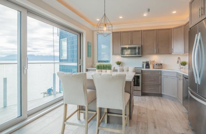 Guest kitchen at SookePoint Ocean Cottage Resort.