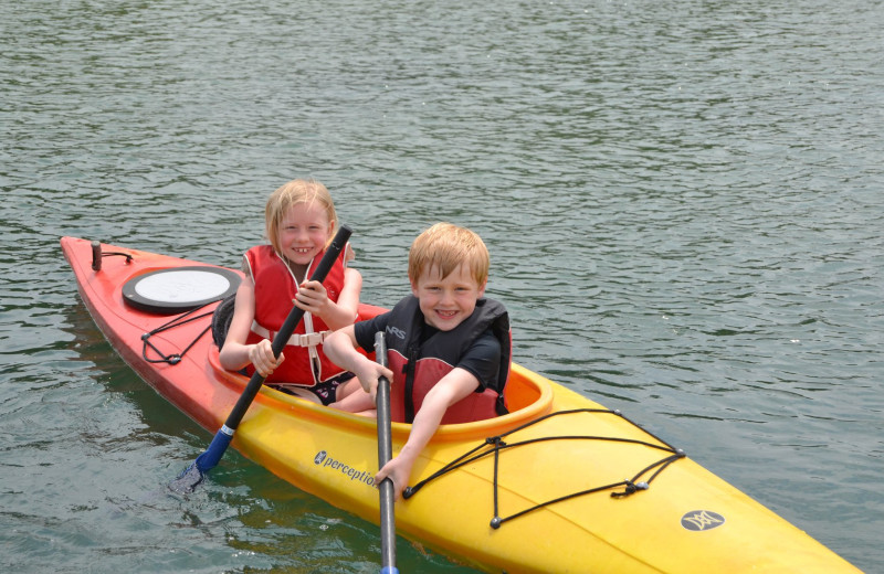 Kids kayaking at Gordon Lodge.