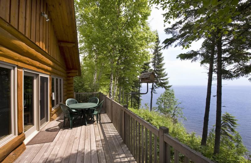 Cabin exterior at Lutsen Resort on Lake Superior.