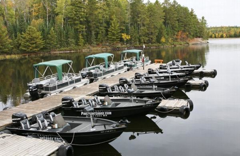 Boats lined at the dock at Pine Point Lodge.