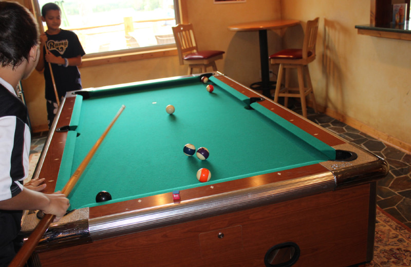 Billiard table at Big Sandy Lodge & Resort.
