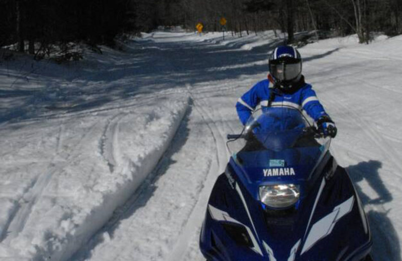 Snowmobiling trail at S & J Lodge.