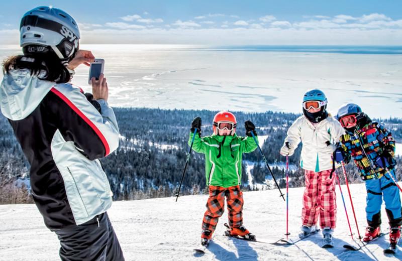 Skiing at Eagle Ridge at Lutsen Mountains.