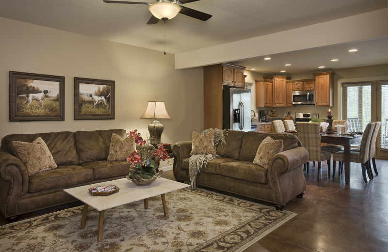 Cabin living room and kitchen at Caryonah Hunting Lodge.