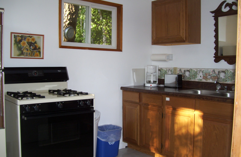 Cabin kitchen at Shady Hollow Resort and Campground.