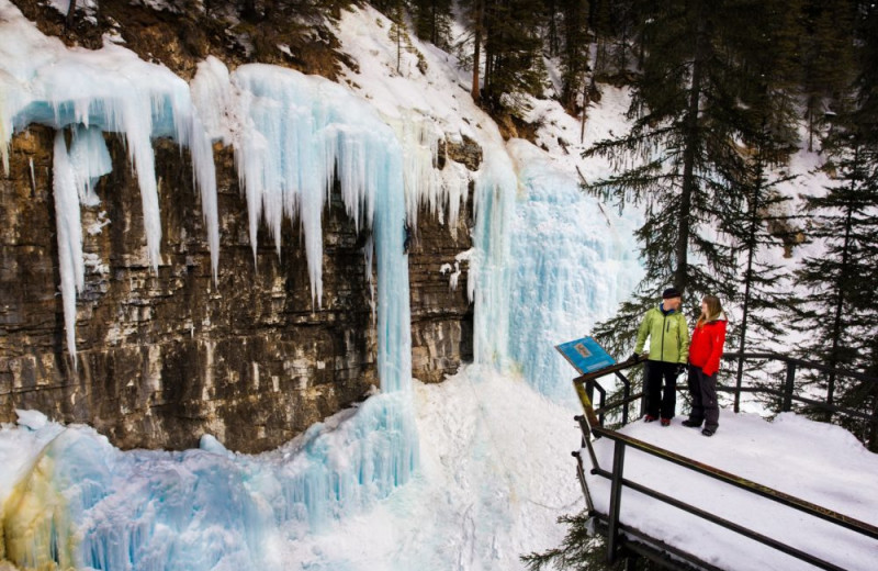 Frozen waterfall at Mountaineer Lodge.