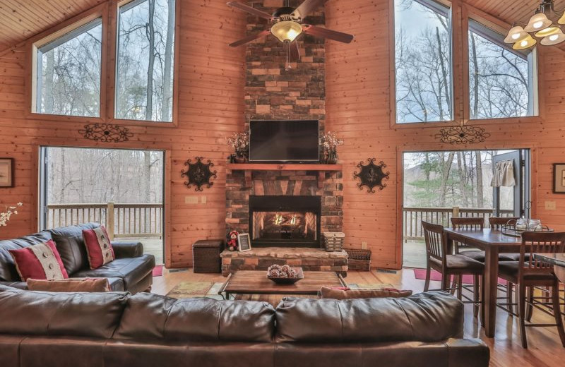 Rental living room at Wilderness View Cabins.
