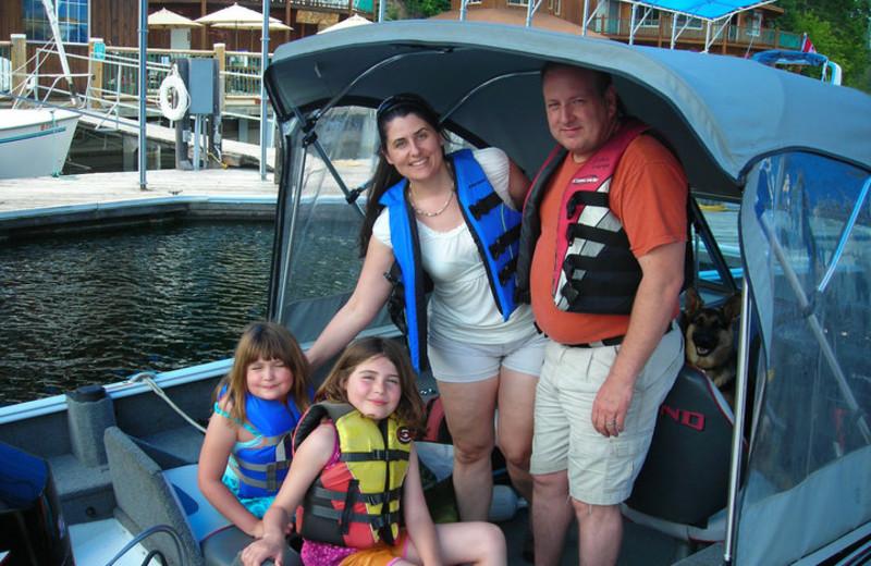 Family boating at Blue Diamond Marina.