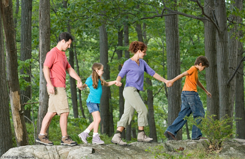 Family hiking at Family Time Vacation Rentals.